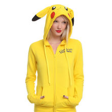 2018 New Popular Japan Cartoon Pokemon Lovely Pikachu Hoodie Jacket Hoody with Zipper Cute Cosplay Costume Clothes Free Shipping(China)