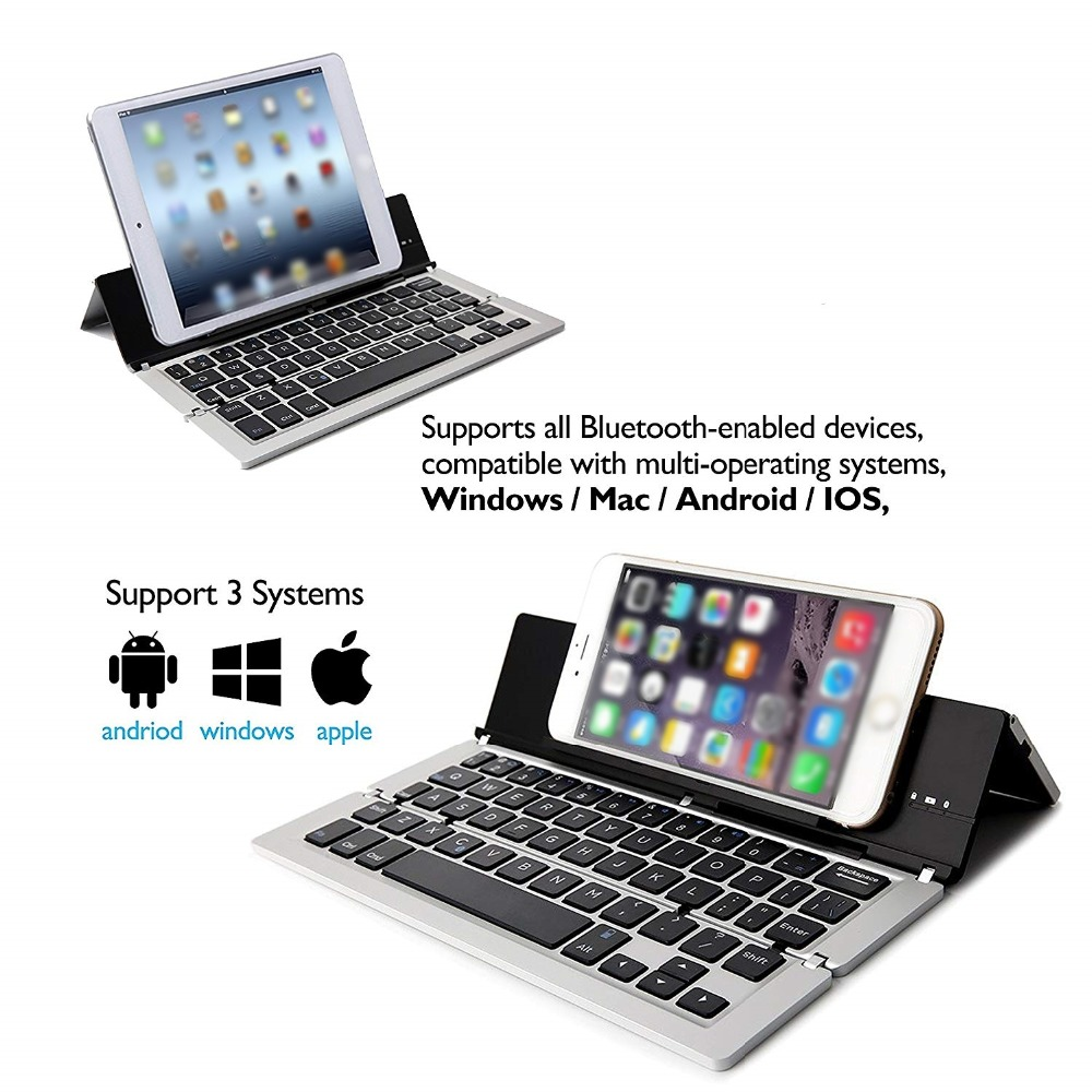 Animuss Wireless Mini Folding BlueTooth Keyboard for Smartphones and Tablet PC
