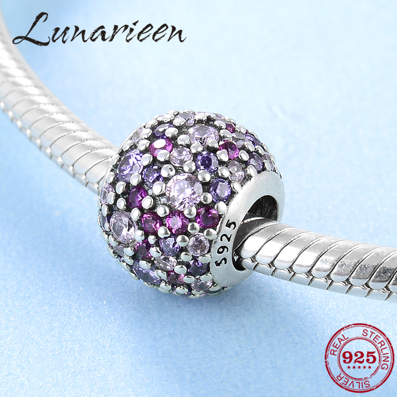 925 sterling silber Zarten lila rosa zirkon runde DIY zubehör perlen Fit Original Pandora Charme Armband Schmuck machen