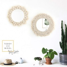 Macrame Wall Mirrors Tapestry Decorations Bohemia  Creative Art Decoration Wall Tapestry Farmhouse Background Decor macrame wall hanging mirrors ins nordic wall mirrors hand made wall tapestry home porch mirrors for home makeup bath room