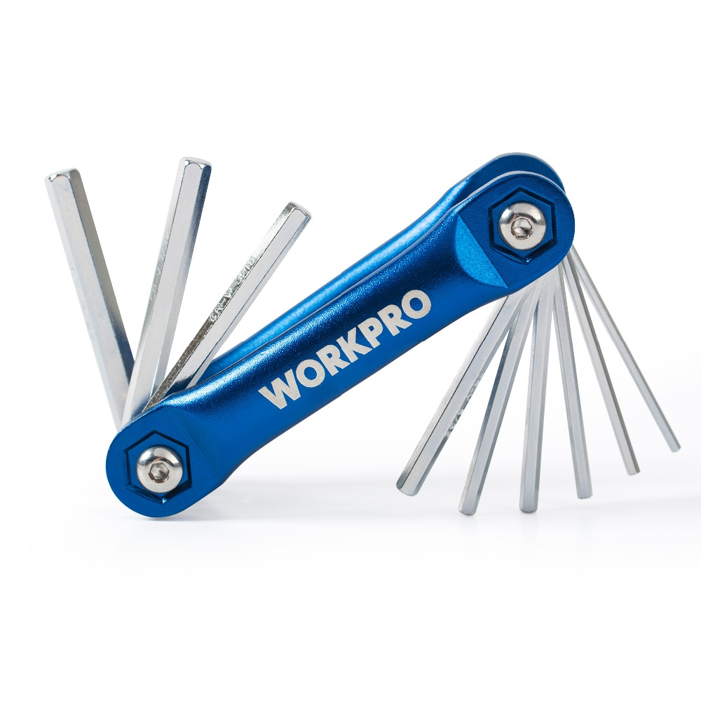 WORKPRO SAE Folding Hex Key Metric Torx Key Set Wrench Spanner Set hot sale 8pcs h02415 folding metric hex key set mini spanner adjustable pocket wrench allen keys tools bicycle repairing tool