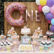 Donut Balloon 1th Birthday Party Decor Rose Gold/Silver Grow Up Balloons Supplies Cake Topper
