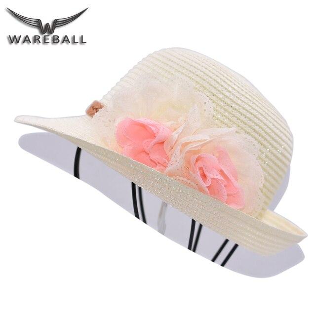 [WAREBALL] горячие Моды Новый Цветок Украсьте Девочки Дети Соломенные Шляпы Лето Sun Beach Шапки Для Выбрать Пляж шляпа