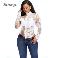 Ziamonga Sexy Mesh Bodysuit Black White Embroidery Lace Patchwork Skinny Jumpsuit For Women 2018 New Autumn Long Sleeve Bodysuit