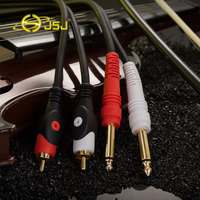 JSJ Pro Audio Instrument Cable 2 6 35 Mono Male To 2 RCA Male Audio Cable
