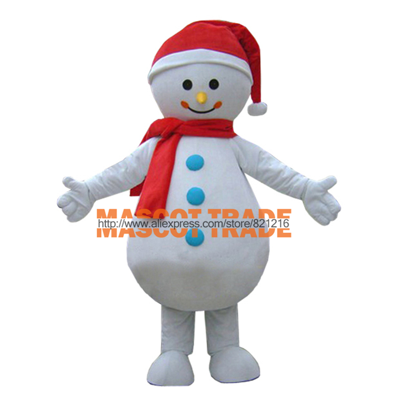 Christmas White Snow Man Adult Size Mascot Costume Winter Snow Man Cartoon Character Mascot Outfit Suit