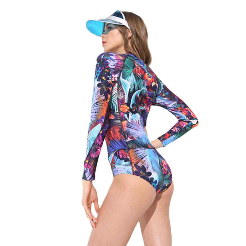 Knlpjyq Wanita Ritsleting Depan Ruam Pengaman Lengan Panjang Baju Renang 2019 One Piece Swimsuit Wanita Bather Surf Baju Bodysuit