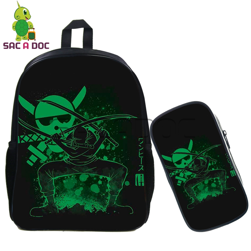 ebb5a7b2b93 Cool One Piece Fluorescence Backpack 2 Pcs set Backpack Teenage Boys Girls  Luffy Zoro Cosplay Backpack Children School Bags-in Backpacks from Luggage    Bags ...