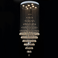 Round LED Chandelier Light Clear K9 Crystal Lighting Rain Drop Hanging Lamps Fixtures D60CM H180CM 8 GU10 flush lights