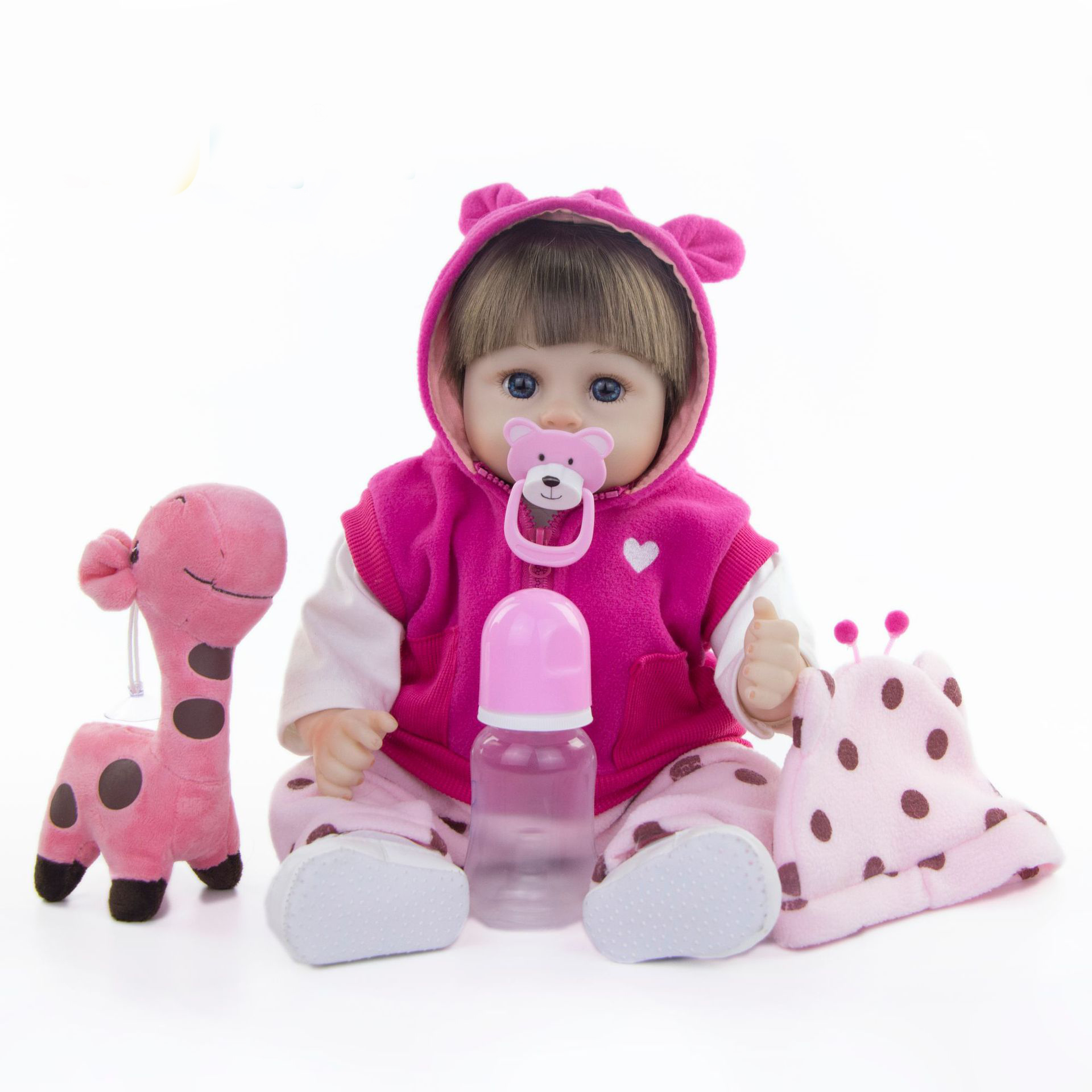 17inch Soft Silicone Reborn Dolls pink reborn-baby collectible Dolls modeling princess toddler Kids Real touch bebe Xmas gifts17inch Soft Silicone Reborn Dolls pink reborn-baby collectible Dolls modeling princess toddler Kids Real touch bebe Xmas gifts