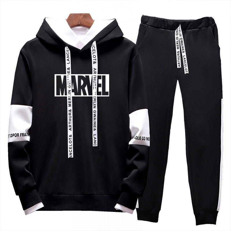 Marque célèbre nouvelle mode hommes Sportswear imprimer Hoodies + pantalon + Tee 2 pièces pull Hip Hop hommes survêtement Sweatshirts vêtements ensembles