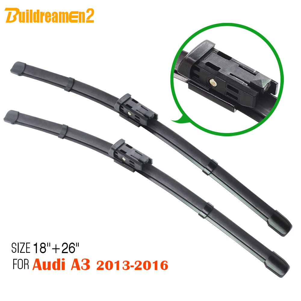Buildreamen2 for 2013 2016 audi a3 1pair car frameless soft rubber windshield bracketless window wiper