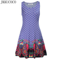 JKKUCOCO 2017 Europe Hot Style Geometric Flowers Print Vintage Dresses Women Dress O Neck Sleeveless Dress