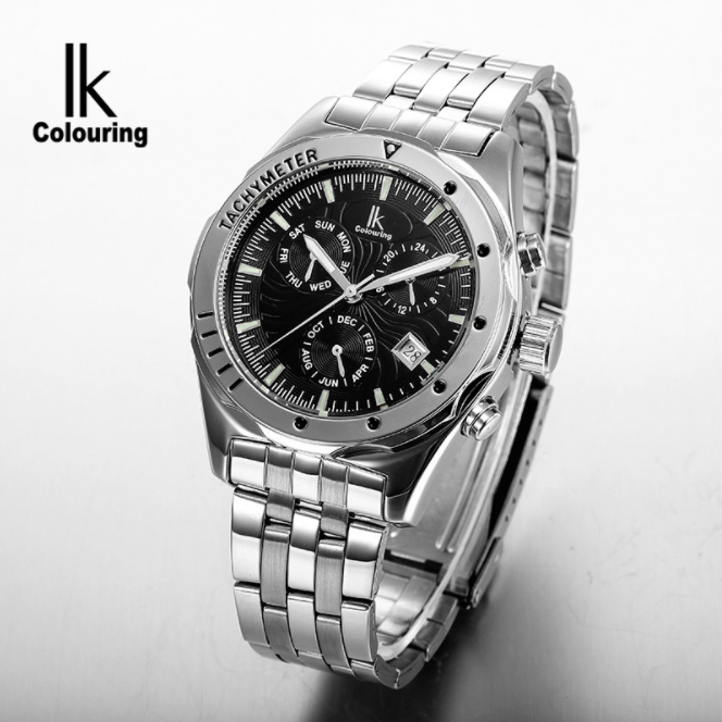 все цены на  IK Colouring Automatic Male Wristwatches Auto Date Luminous Hands Dial Stainless Steel Band Water Resistant Mechanical Watch Men  в интернете