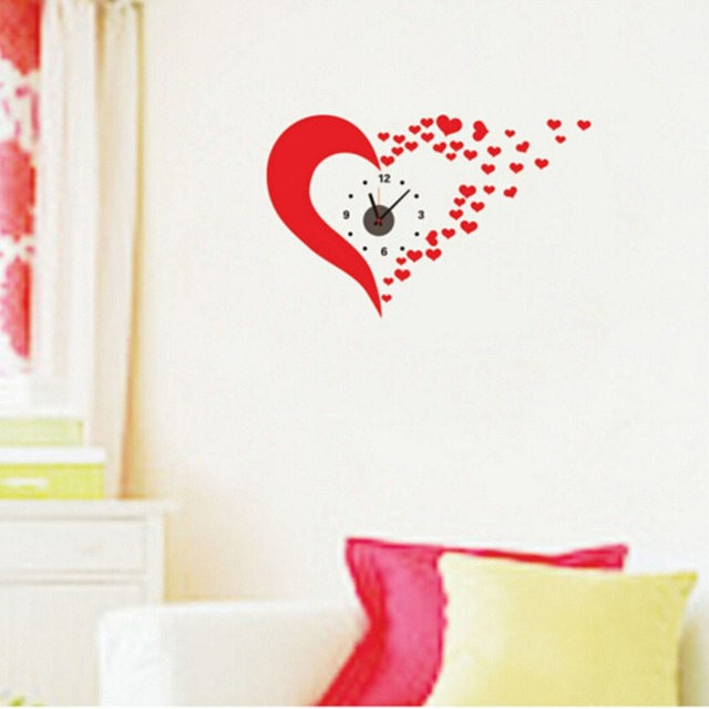 lovely 3d clock wall stickers wedding decoration tvsofa background poster home decor