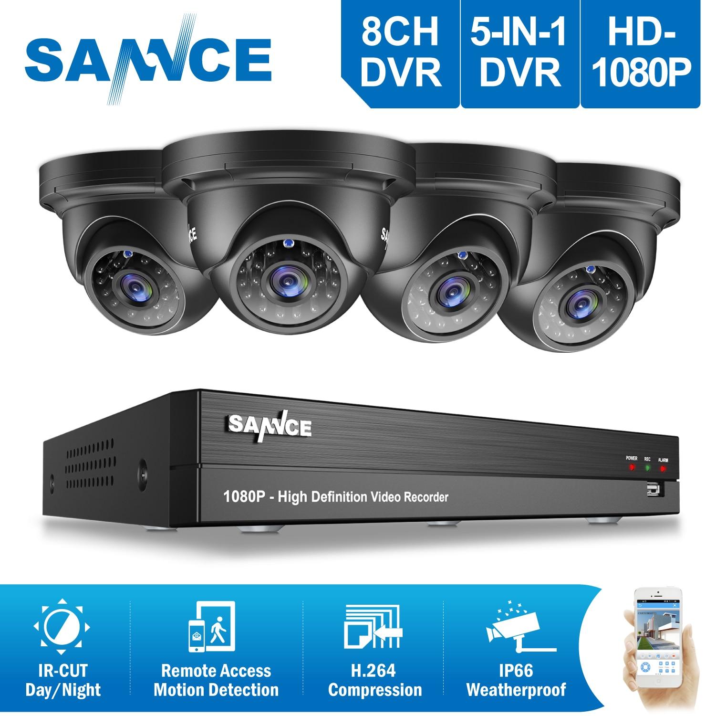 SANNCE 8CH 1080 P CCTV Système HD 1080 P DVR Kit 4 PCS 2.0MP Sécurité Caméras IR nuit étanche Surveillance kit 1 TO HDD
