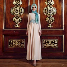 Nude Chiffon Muslim Evening Dress Long Sleeve Simple Cheap Hijab Formal Party Dresses 2017 Abiye Elbise Avondjurk Islamic