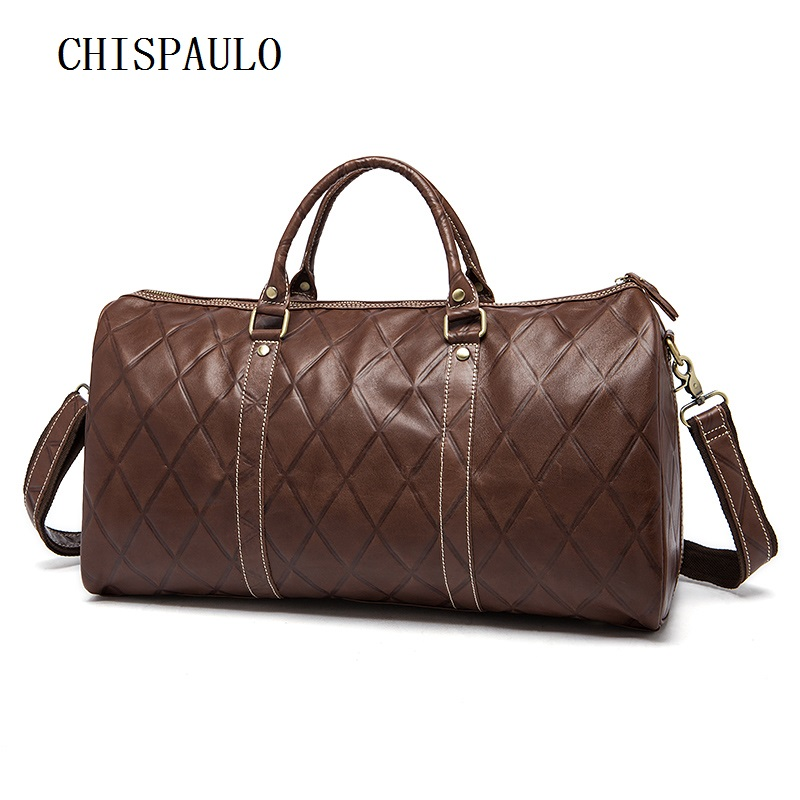 CHISPAULO Genuine Leather Men Travel Bags Carry On Luggage Bag Zipper Men Bags Casual Men's Travel Leather Duffle Bag new T739 bopai duffle bag lightweight luggage waterproof travel bags for men business best carry on luggage tote weekend travel bag