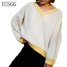 Korean Fashion Women Sweater Pullover Knitted Cotton Tops Solid V-Neck Patchwork Long Sleeve Sweaters Winter Woman Sweater Tops korean autumn new feminine knitted sweater fashion lace up sweater woman tops long sleeve shein pullover knitted tops 10i