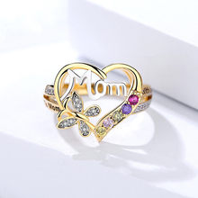 Gift for Mother With rhinestone flower heart Ring gold plated thanksgiving day present for Mom Mother's day gift(China)