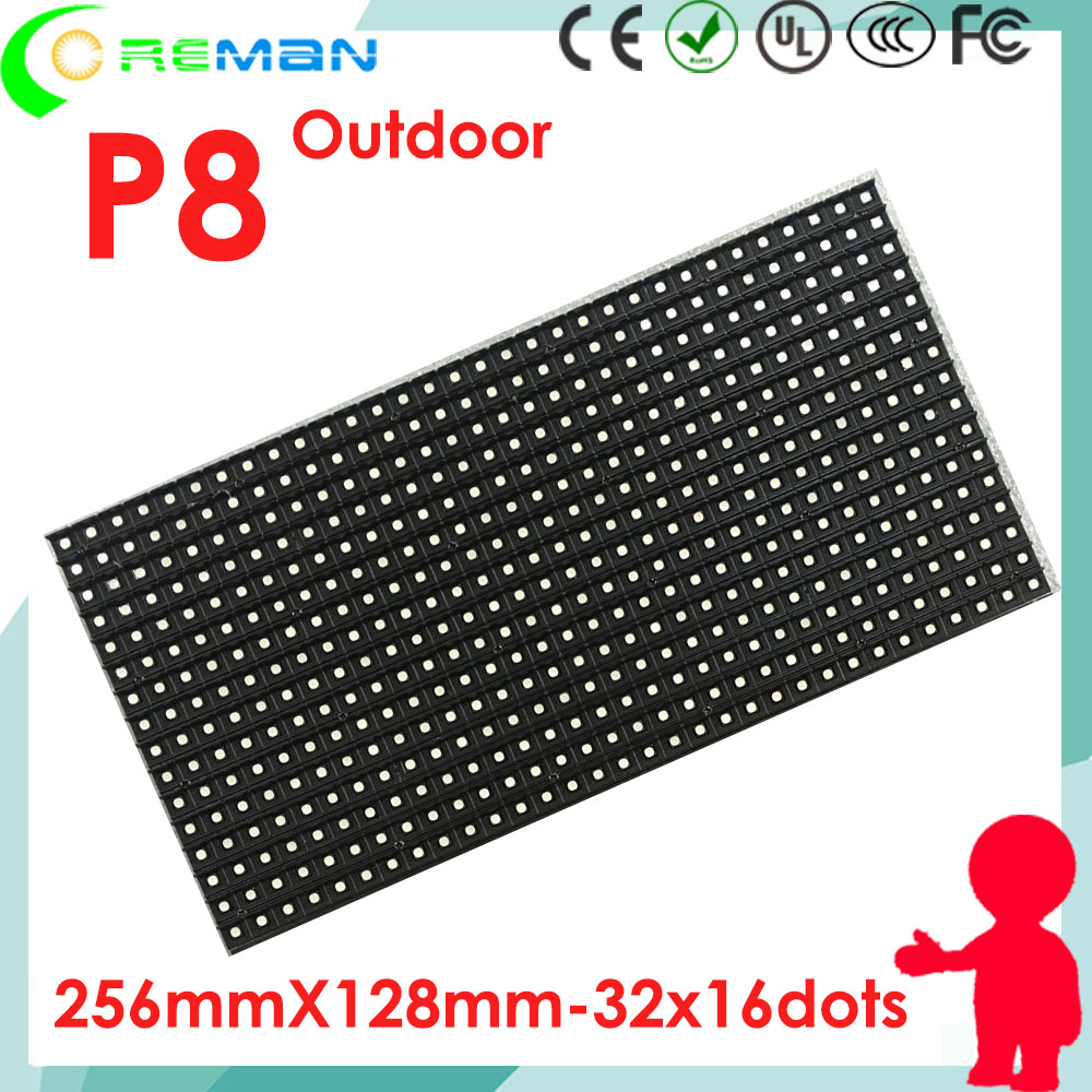 Free Shipping Rgb Module P8 Led Outdoor Ip65 Ip67 For Digital Led Sign Board Led Displays 220v 110v Led Display Screen Module P8mm P6mm P5 Optoelectronic Displays