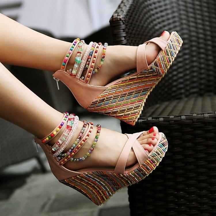 Helder Slyxsh Zomer Vrouwen Schoenen Wiggen Sandalen Vrouwelijke Platforms Party Schoenen Boho Casual Dames Zip Mode Hakken Sandalen Aantrekkelijk Uiterlijk