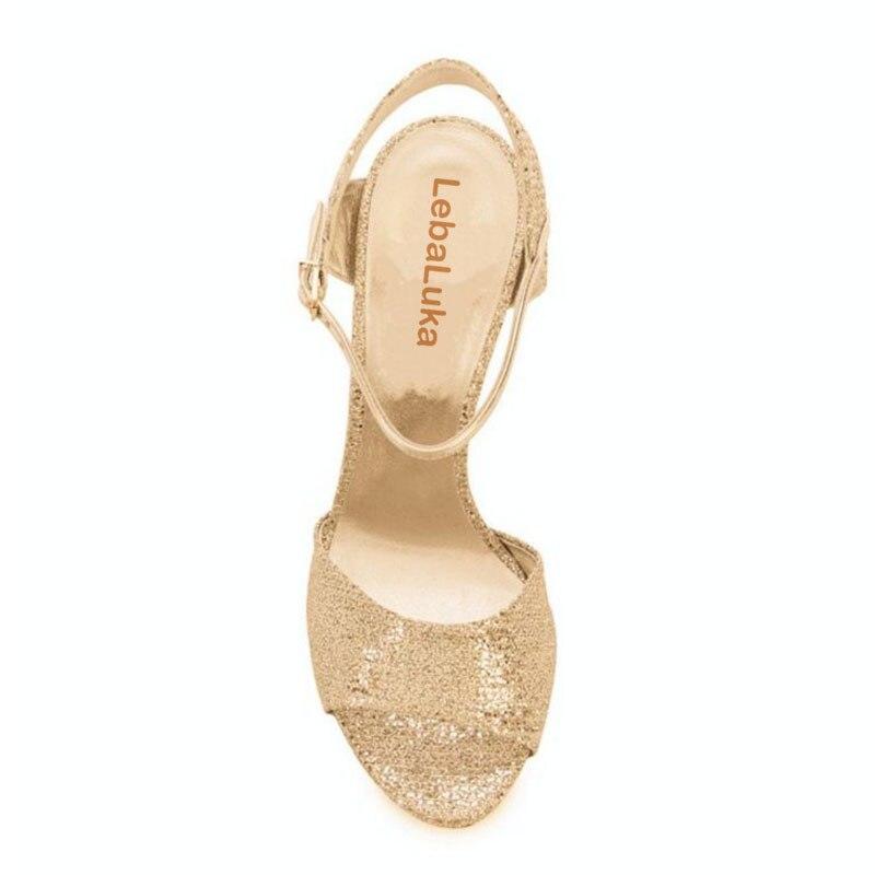 Couleur Footwears Talon Cheville argent Brillent 33 En 43 Hauts Métal Sandales À Or Sexy Mince Sangle Chaussures Femmes Talons Taille Lebaluka D'été 6FawHH