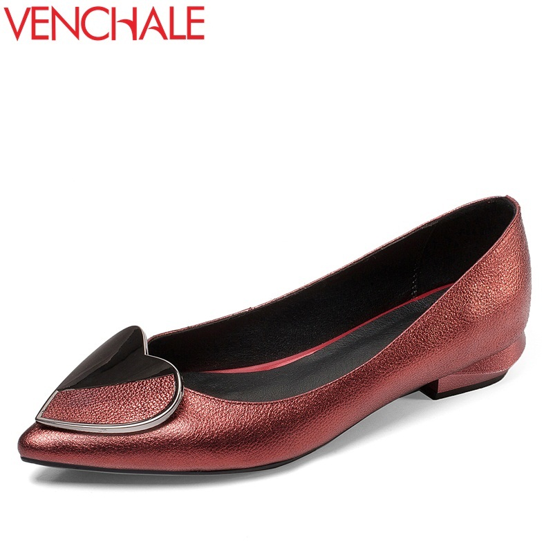 VENCHALE women casual pumps genuine leather spring low heel concise shoes pointed toe slip on office lady handmade walking pump new genuine leather superstar solid thick heel zipper gladiator women pumps pointed toe office lady nude runway casual shoes l88