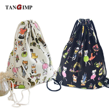 TANGIMP 2017 Drawstring Bags Women's Backpack Owl Elephant Flamingo Printed Travel Canvas Softback harajuku Vintage Beach Bag