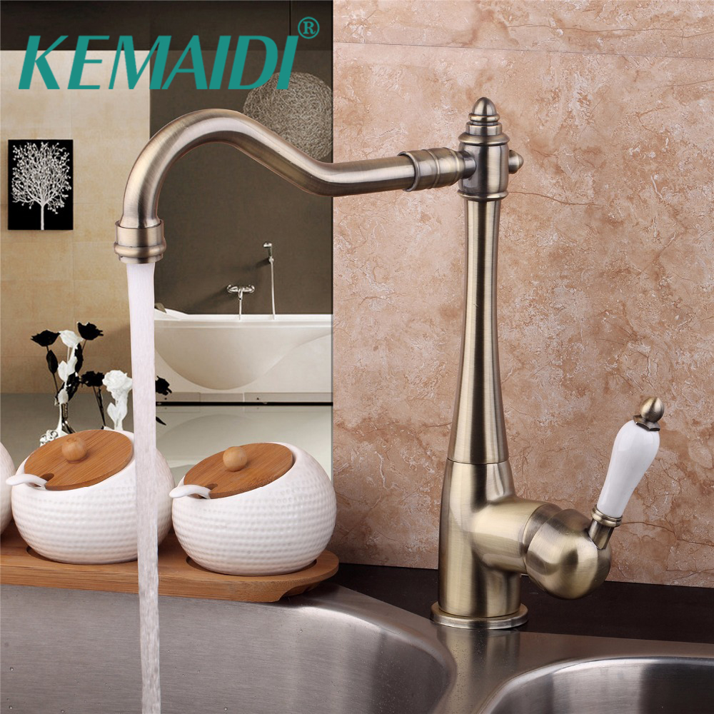 KEMAIDI Luxury 360 Swivel Solid Brass Single Handle Mixer Sink Tap Kitchen Faucet torneira Antique Brass Deck Mounted kemaidi 3 pcs antique brass