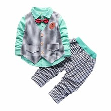 цена на Children Cotton Clothes Spring Autumn Baby Boys Girls Vest Shirt Pants 3Pcs/Sets Fashion Gentleman Bow Tie Casual Tracksuits
