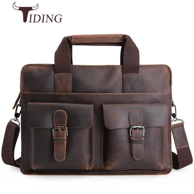 f96b4bf1956 Tiding New Handmade Cow Leather Briefcase 14 Inch Laptop Bag Mens Document  Bags Brand Designer Shoulder Messenger Bag Dark Brown