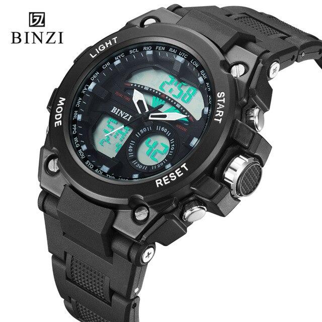 e565b096788 Relógio homens Digitais Esportes Relógio Militar Moda Quartzo Relógio À  Prova D  Água Esporte BINZI
