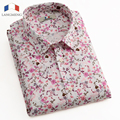 Langmeng 2016 Brand Men Shirt Short Sleeve Floral Dress Shirts Casual Slim Fit Male Summer Style Camisa Masculina Chemise Homme