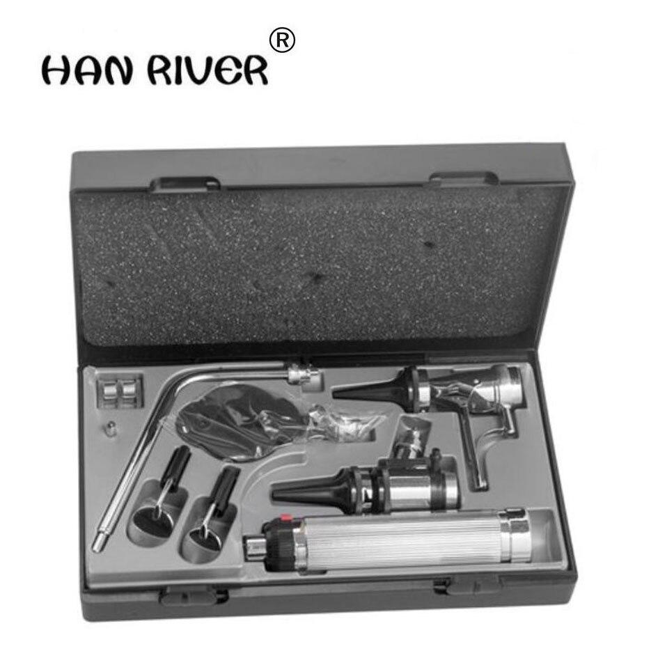 Fabriqué en acier inoxydable de haute qualité combinaison des cinq dames officielles audioscope fundus miroir oreille museau laryngoscop