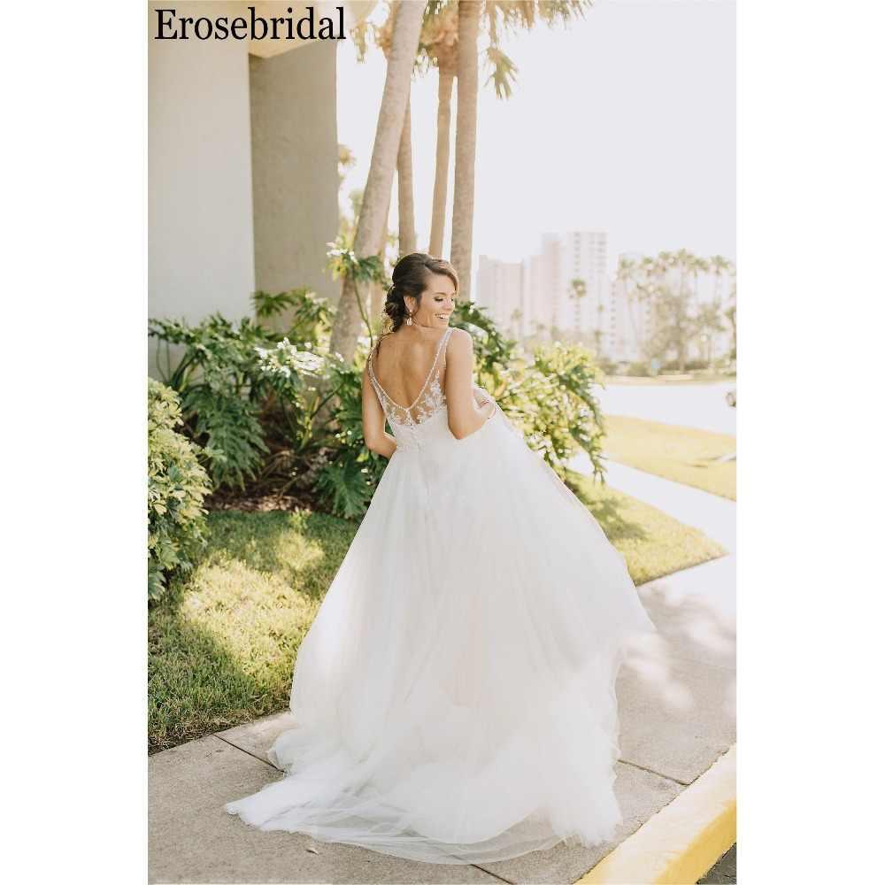... Erosebridal Simple Wedding Dress A Line Beaded V Neck Elegant Beach Bridal  Gown Detachable Belt 2019 ... 9930394af212