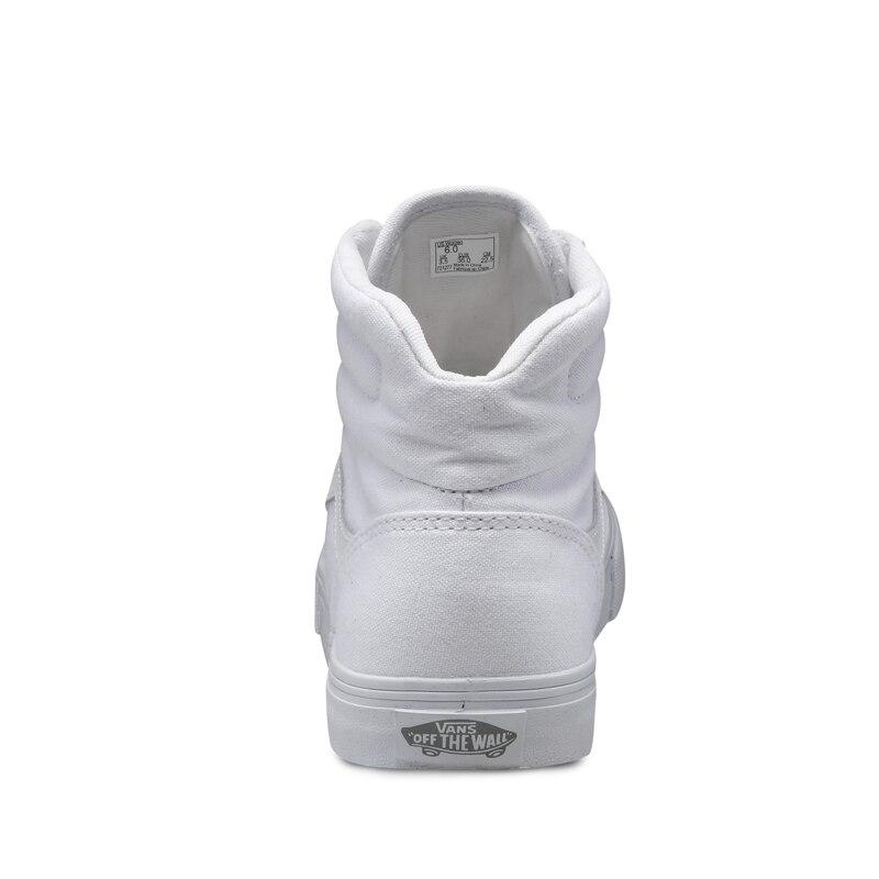 Originele Vans Nieuwe Collectie Witte Kleur Hoge Top vrouwen Skateboarden Schoenen Canvas Sneakers gratis verzending in Originele Vans Nieuwe