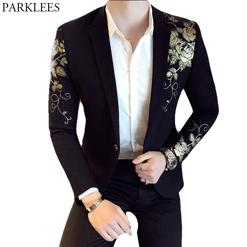 Gold Flower Print One Button Blazer Jacket Men 2018 Brand New Party Wedding Festival Stylish Slim Suit Blazer Men Costume Homme formal wear