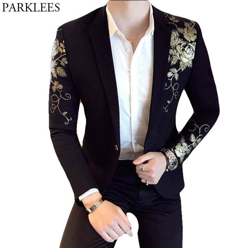 Erkek Kıyafeti'ten Blazerler'de Altın çiçek baskı bir düğme Blazer ceket erkekler 2018 marka yeni parti düğün festivali şık ince takım elbise Blazer erkekler kostüm homme'da  Grup 1