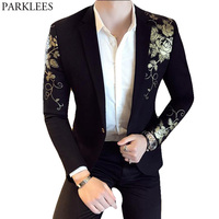 Gold Flower Print One Button Blazer Jacket Men 2018 Brand New Party Wedding Festival Stylish Slim Suit Blazer Men Costume Homme