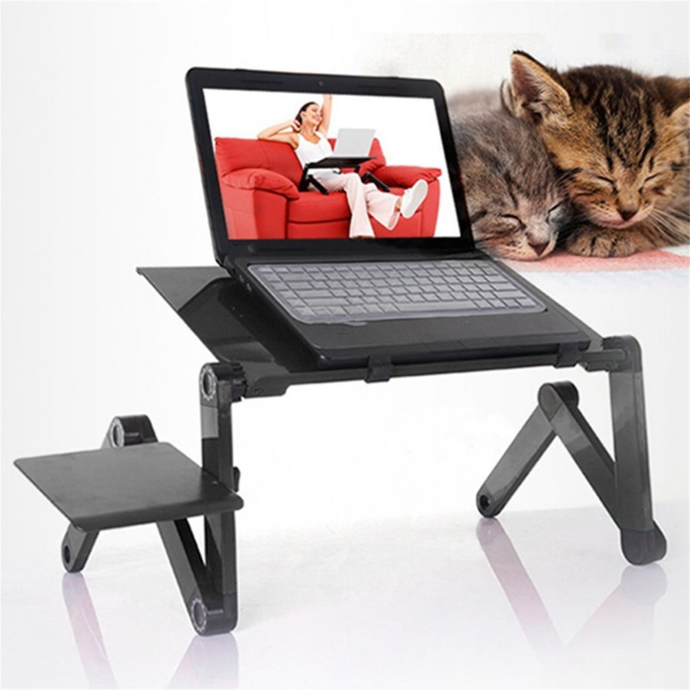 Купить с кэшбэком Portable Foldable Adjustable Laptop Desk Computer Table Stand Tray Notebook Lap PC Folding Desk Table with Mouse with fan