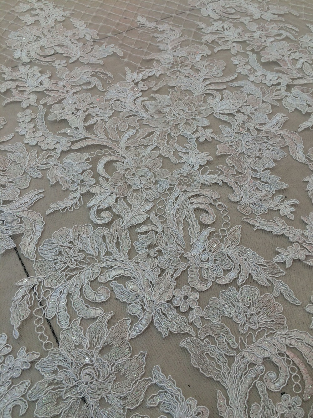 African Z han101925 Tulle Lace Design High Quality net lace fabric with sequins Embroidery Polyester French