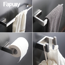 Fapully 304 Stainless Steel 4pcs/Kit Brushed Wall Mount Towel Bar Cloth Hook Paper Holder Bathroom Accessories Sets Hardware