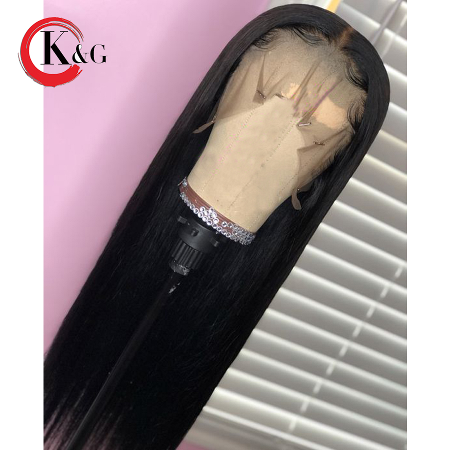 KunGang Straight Lace Front Human Hair Wigs Middle Part Natural Hairline Brazilian Remy Human Hair Wig