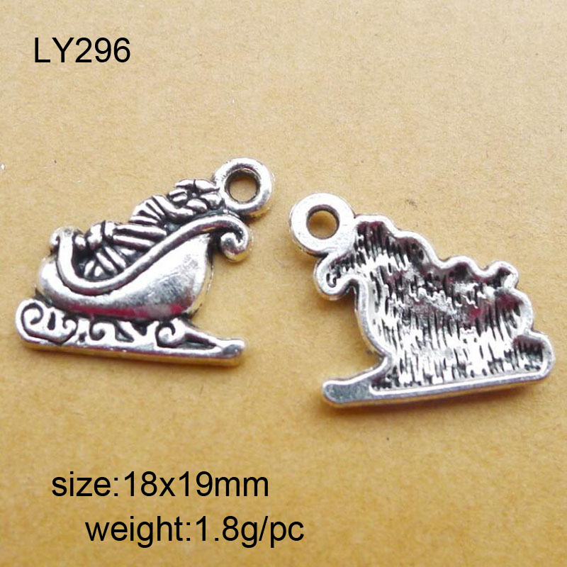 25pcs/lot 18x19mm Antique Silver Zinc Alloy Christmas Sleigh Charms Pendant For Jewelry Making With The Most Up-To-Date Equipment And Techniques Home & Garden