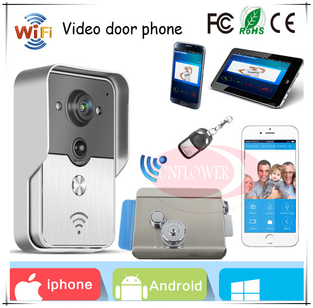 Free Shipping Wifi Wireless Video  Door Phone Intercom (app can be run in Android and IOS devices )+Electronic Control Lock brand new wifi wireless video door phone door bell intercom systems app can be run in android and ios devices free shipping