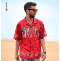 2018 New Hot Sale Summer Style Men Shirt Floral Hawaiian Shirt Cotton Beach Large Size Short