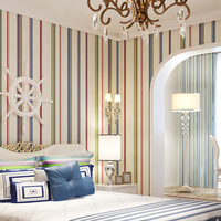Bedroom Textures Fabric Striped Wallpaper Wall Paper Non woven Wall Paper Roll Striped Dining Room Hotel For Home Wallpapers