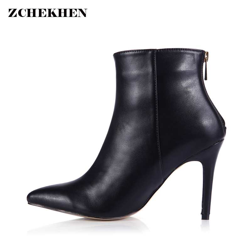2018 Spring Women Boots High Heels Ankle boots women shoes fashion Pointed Toe Leather boots new 2017 spring summer women shoes pointed toe high quality brand fashion womens flats ladies plus size 41 sweet flock t179