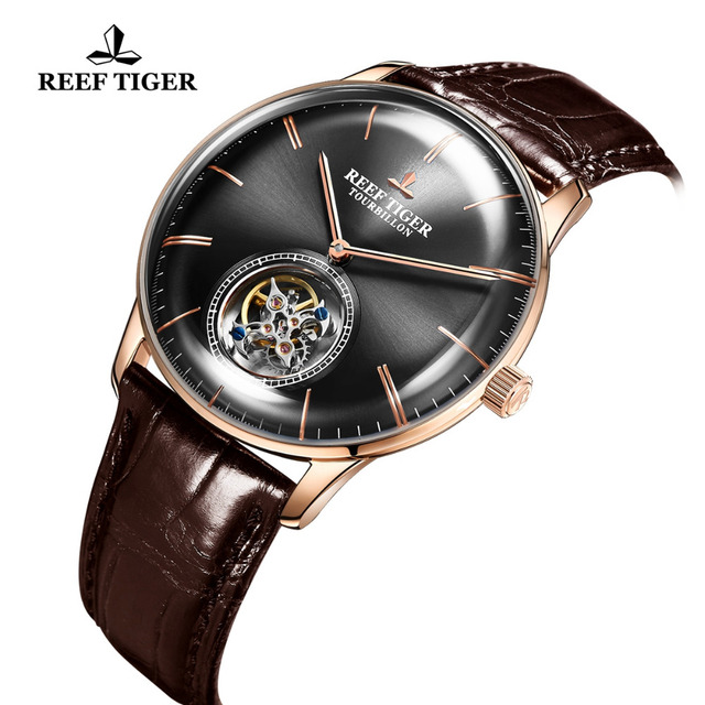 Reef Tiger/RT Luxury Brand Tourbillon Mechanical Watch Men Rose Gold Leather Strap Waterproof Watches Relogio Masculino RGA1930